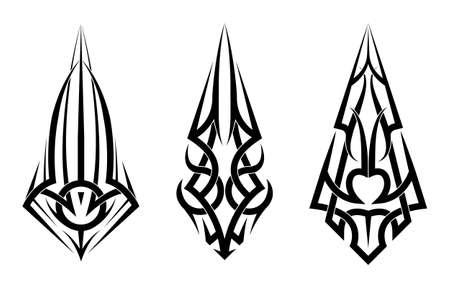 Abstract Tattoo tribal sleeve set vector, ethnic art design isolated on white background Ilustracja