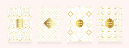 Art geometry style for wedding invitation, decorative patterns, luxury templates, Gold collection of modern abstract elements, vector illustration.