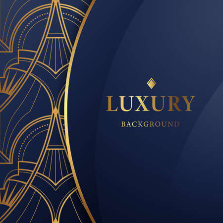 Vector modern geometric tiles pattern. Abstract luxury ornamental art design blue background in gold color Ilustracja