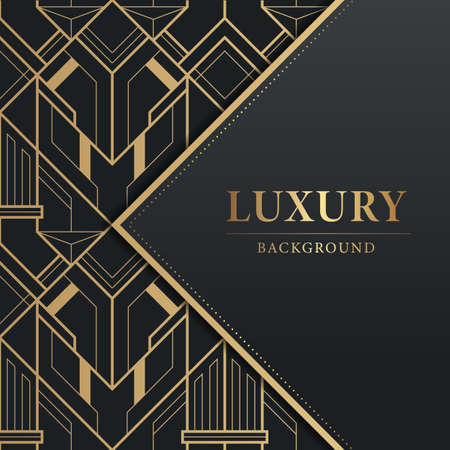 Vector modern geometric tiles pattern. Abstract luxury ornamental design background in gold color