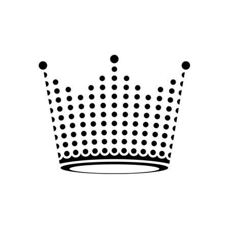 Crown logo. Black dot symbol icon on black background. Vector illustration.