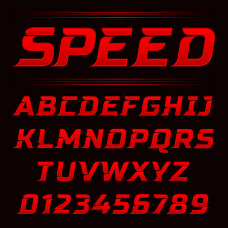 Speed letters set. Red race font vector. Fonts for event, promo, logo, banner, monogram and poster. Typeset design.