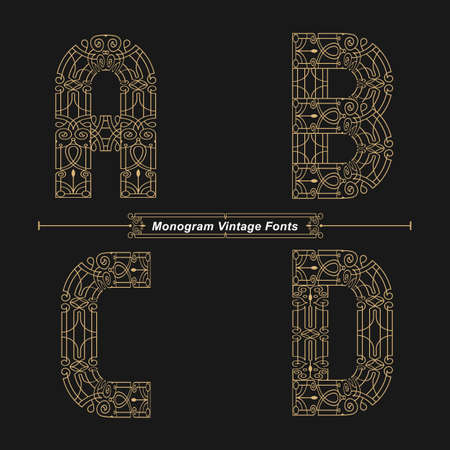 Vector graphic alphabet in a set A,B,C,D, with Abstract Monogram vintage Font. Typography design for posters,   cover, etc.