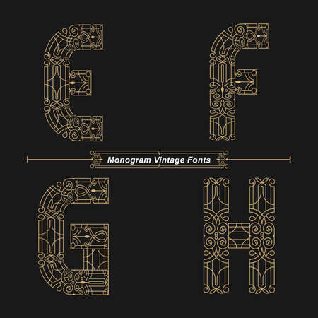 Vector graphic alphabet in a set E,F,G,H, with Abstract Monogram vintage Font. Typography design for posters, cover, etc.