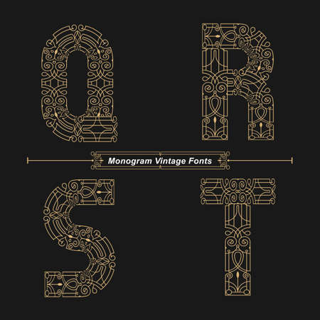 Vector graphic alphabet in a set Q,R,S,T, with Abstract Monogram vintage Font. Typography design for posters,   cover, etc. Ilustracja