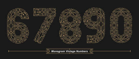 Vector graphic Numbers in a set 6,7,8,9,0, with Abstract Monogram vintage Font. Typography design for posters,  cover, etc.