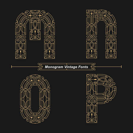 Vector graphic alphabet in a set M,N,O,P, with Abstract Monogram vintage Font. Typography design for posters,  cover, etc. Ilustracja