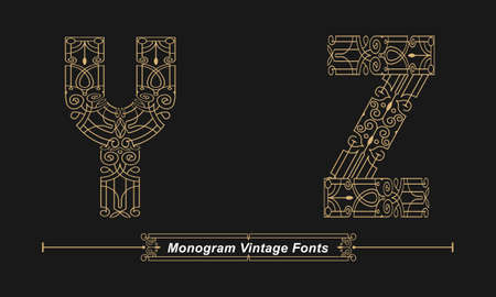 Vector graphic alphabet in a set Y, Z, with Abstract Monogram vintage Font. Typography design for posters,  cover, etc.