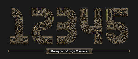 Vector graphic Numbers in a set 1,2,3,4,5, with Abstract Monogram vintage Font. Typography design for posters,   cover, etc.