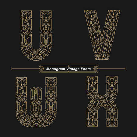 Vector graphic alphabet in a set U,V,W,X, with Abstract Monogram vintage Font. Typography design for posters,  cover, etc.