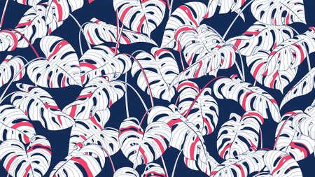 Floral monstera palm seamless pattern, color split-leaf Philodendron plant on blue background, line art ink drawing. vector illustration.