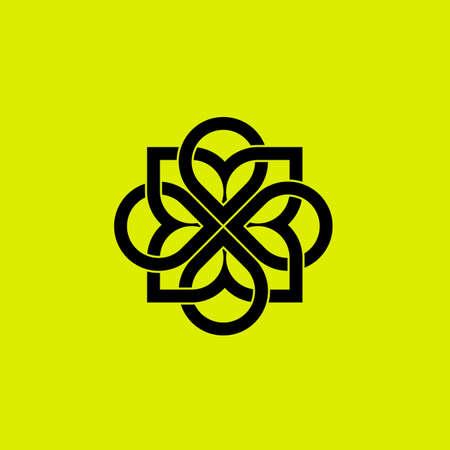 Abstract elegant flower logo icon vector design. Luxury linear creative monogram vector.