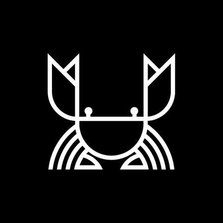 Crab linear logo design. Seafood monogram icon vector.