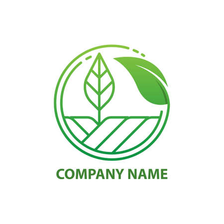 Green Nature Farm Logo Design Template. logo with a line design leaf vector