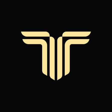 Alphabet letter T monogram vector logo icon sign design template. Wings logotype