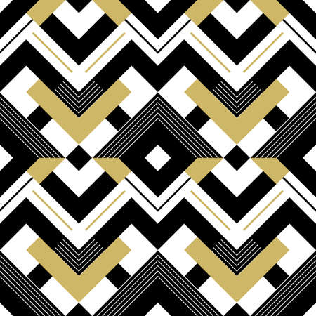 Abstract geometric pattern with stripes, lines. A seamless vector background. Gold black and white texture.