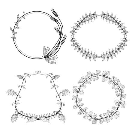 Set of floral hand-drawn frames, elements in doodle style on white background. Vector illustration. Zdjęcie Seryjne