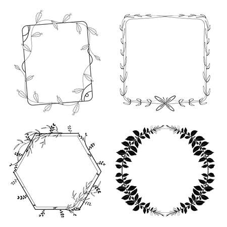 Set of floral hand-drawn frames, elements in doodle style on white background. Vector illustration. Ilustracja