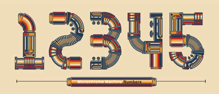 Vector graphic numbers in a set 1,2,3,4,5, with Abstract Monochrome Vintage machine color Font. Typography design for posters,   cover, etc.