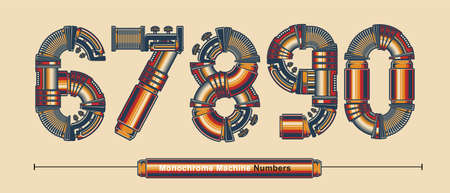 Vector graphic numbers in a set 6,7,8,9,0, with Abstract Monochrome Vintage machine color Font. Typography design for posters,   cover, etc.