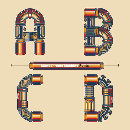 Vector graphic alphabet in a set A,B,C,D, with Abstract Monochrome Vintage machine color Font. Typography design for posters,   cover, etc. Ilustracja