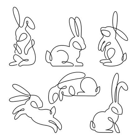 Continuous line drawing of easter rabbit set, Black and white vector minimalistic hand drawn illustration. Ilustracja
