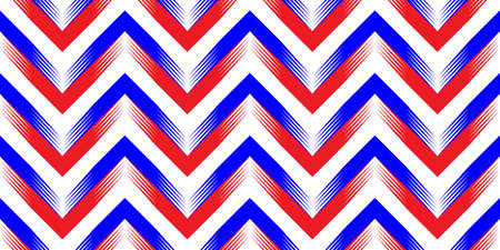 Abstract geometric wave pattern with stripes, lines. A seamless vector background. Red Blue and white texture. Ilustracja