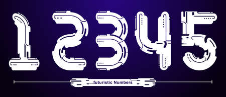 Vector graphic numbers in a set 1,2,3,4,5 with Abstract futuristic modern Font. Typography design for posters, logos, cover, etc.