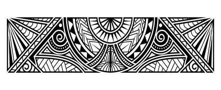polynesian tattoo pattern maori, samoa ornament border, ethic tribal template vector. Vector Illustration