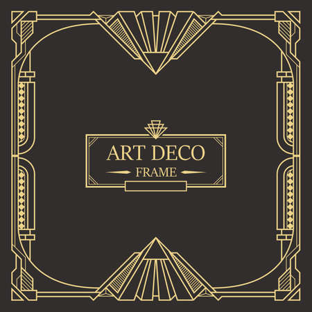 Art deco border and frame. Creative template in style of 1920s for your design. Vector illustration. EPS 10 Vektorové ilustrace