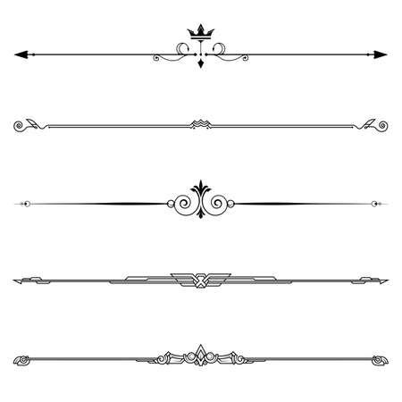 Set of decorative elements, border and page rules frame. vector illustration. Ilustración de vector