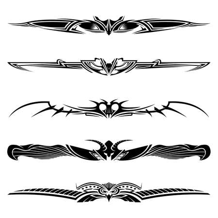 Dividers tribal tattoo design elements, ornaments, vector illustration
