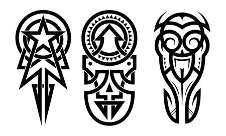 Tattoo tribal abstract sleeve set vector on white