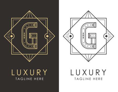 Art deco letter G logo in two color variations. Elegant style logotype design for luxury company branding.