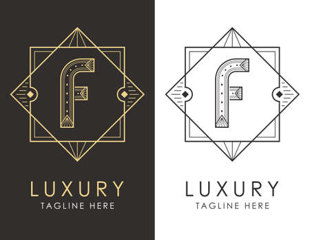 Art deco letter F logo in two color variations. Elegant style logotype design for luxury company branding.