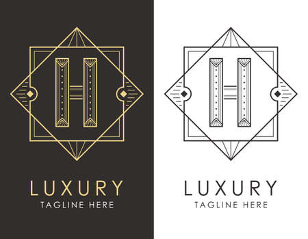 Art deco letter H logo in two color variations. Elegant style logotype design for luxury company branding.