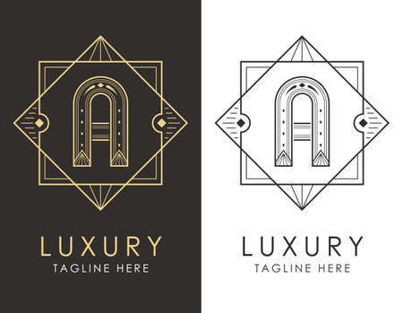 Art deco letter A logo in two color variations. Elegant style logotype design for luxury company branding.