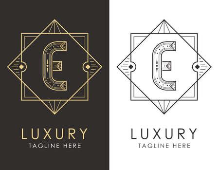Art deco letter E logo in two color variations. Elegant style logotype design for luxury company branding.