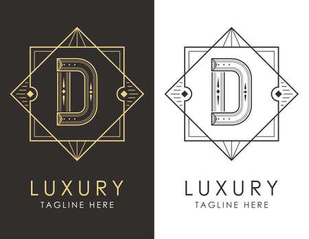 Art deco letter D logo in two color variations. Elegant style logotype design for luxury company branding.