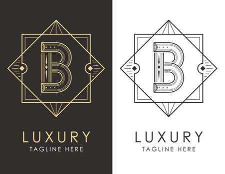 Art deco letter B logo in two color variations. Elegant style logotype design for luxury company branding.