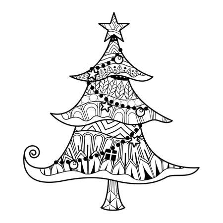 Christmas tree with ornaments and gifts vector. Christmas. New year. Coloring book for kids.