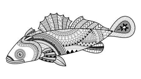 Vector Cute Cartoon Goby fish. Pattern for coloring book. Coloring book pages for kids and adults. Henna Mehndi Tattoo Style Doodles 向量圖像