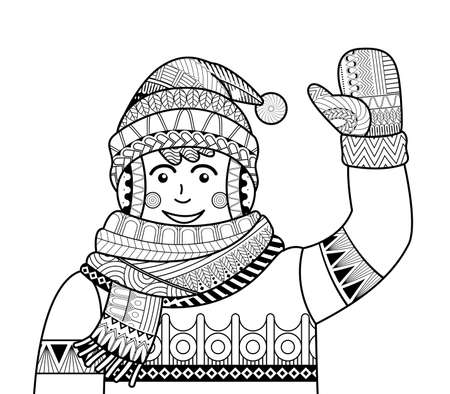 Coloring page outline Cartoon man raising his hand to greet. Winter. Coloring book for kids vector. 向量圖像