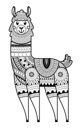 Hand-drawn alpaca with ethnic floral Coloring page. design for spiritual relaxation for adults, vector illustration. 向量圖像