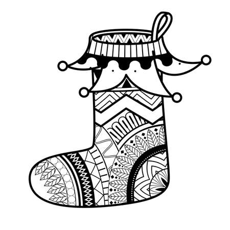 Coloring book page christmas sock. Coloring page with pattern made of Christmas decorative elements. 向量圖像