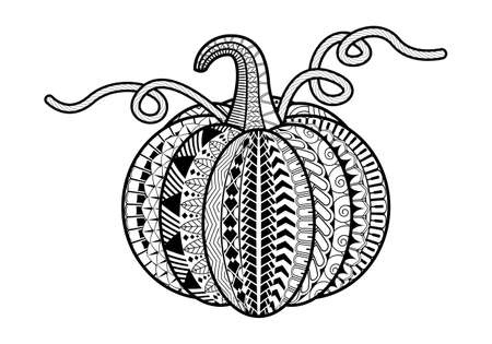 Pumpkin isolated on white background. Perfect for adult antistress coloring page, T shirt print, logo or tattoo with doodle, invitation, greeting card.