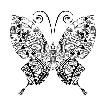 Butterfly hand drawn ethnic patterned, tattoo style. Coloring book page for adults and child vector.