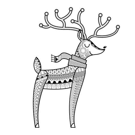 Hand drawn ethnic ornamental patterned cute deer's  adult coloring pages,artistically tattoo, t-shirt print. Vector animal illustration.