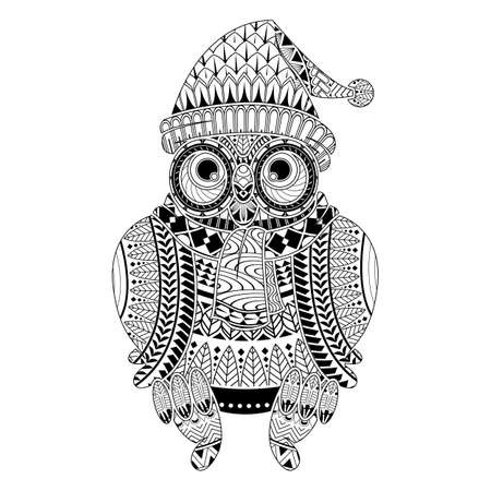 Hand drawn Owl for color book christmas theme for adult other decorations. isolated on white background. Adult coloring page.