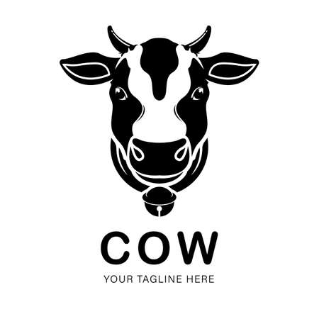 Vector of a cow logo on white background. Animal symbol design